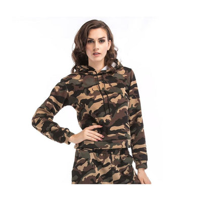 Women New Stylish Loose Camouflage Polyester Long Sleeves Hoodie Sweatershirt Tops