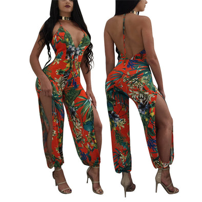 TOB hot new side hollow out women backless Woman jumpsuit 2018 fashion sexy halter deep v-neck elegant bodysuit women overalls