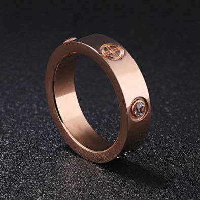 Luomansi  Korean Fashion Titanium Steel Round Rings For Women Luxurious Rose Gold Zircon Hot Ring Fashion Wedding Jewelry Gift