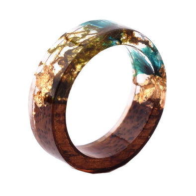 Qiaose Hot Sale New Handmade Wood Resin Rings With Flowers Plants Novelty Jewelry Women Fashion Wood Ring Anniversary Rings