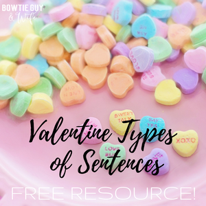 Valentine Types of Sentences Task Cards