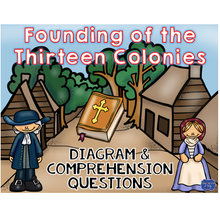 Load image into Gallery viewer, 13 Colonies Founding Diagram and Comprehension Questions