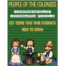 Load image into Gallery viewer, 13 Colonies People: Colonial Americans Crossword