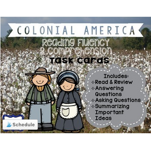 13 Colonies Reading Comprehension & Fluency Task Cards about Colonial America