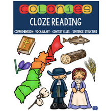 Load image into Gallery viewer, 13 Colonies Cloze Reading Activities for Colonial America