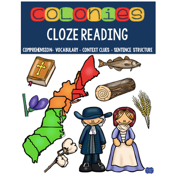 13 Colonies Cloze Reading Activities for Colonial America