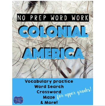 13 Colonies Word Work {Social Studies Vocabulary Practice}
