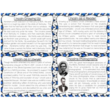 Load image into Gallery viewer, Abraham Lincoln Task Cards for Reading Fluency & Comprehension