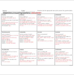 Adaptations Task Cards for Fluency and Comprehension