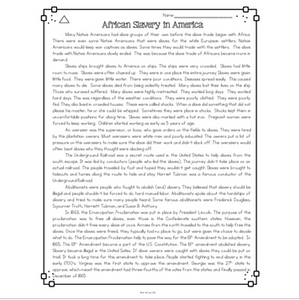 African Slavery in America Differentiated Reading Passages & Questions