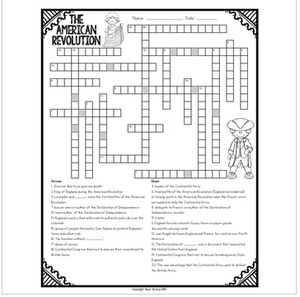 American Revolution Crossword Comprehension Puzzle