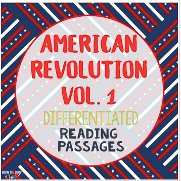 American Revolution Differentiated Reading Passages Vol. 1 bundle