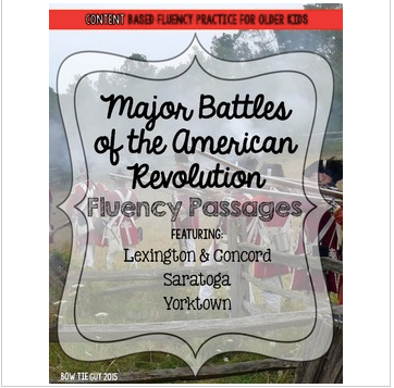American Revolution Fluency Passages (Key Battles)