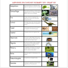 Load image into Gallery viewer, Animal Adaptations & Plant Adaptations & Extinction Vocabulary Sort