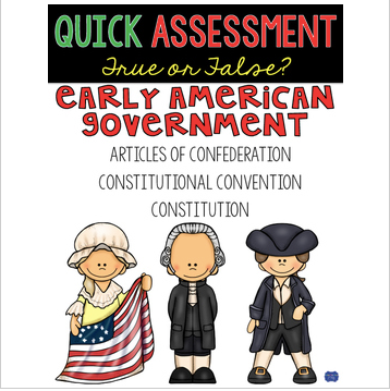 Articles of Confederation, Constitution, & Early American Government Quick Test
