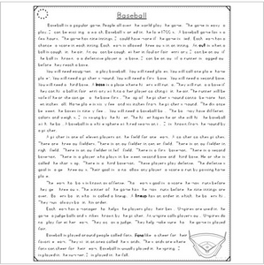 Baseball Close Reading Passages