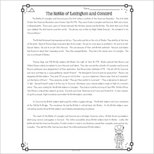 Load image into Gallery viewer, Battle of Lexington and Concord Differentiated Reading Passages & Questions