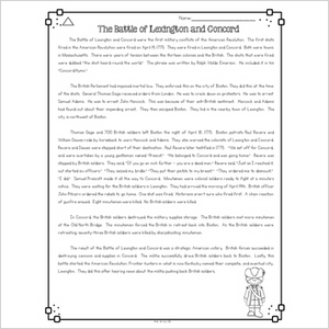 Battle of Lexington and Concord Differentiated Reading Passages & Questions