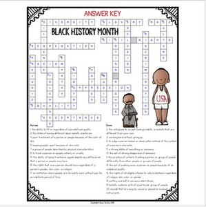 Black History Month Crossword Comprehension Puzzle