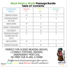 Load image into Gallery viewer, Black History Month Differentiated Reading Passages No Prep Leveled Texts