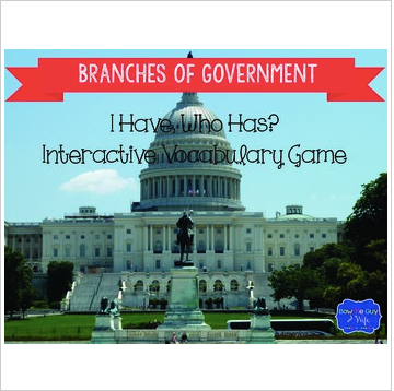 Branches of Government Interactive Vocabulary Game