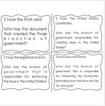 "Load image into Gallery viewer, Branches of Government Interactive Vocabulary Game ""I Have, Who Has?"" Cards"