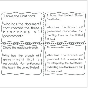 "Branches of Government Interactive Vocabulary Game ""I Have, Who Has?"" Cards"