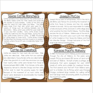 Cattle Movement Reading Fluency and Comprehension Task Cards