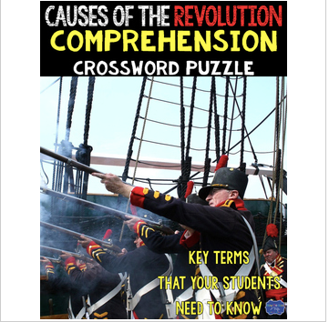 Causes of the American Revolution Crossword