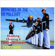 Load image into Gallery viewer, Branches of Military Reading Fluency and Comprehension Task Cards