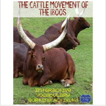 Cattle Movement of the 1800s & Cattle Trails {Interactive Vocabulary Sort}