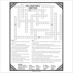 Cell Structure and Function Comprehension Crossword
