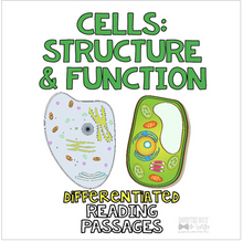 Load image into Gallery viewer, Cell Structure and Function of Cells Differentiated Nonfiction Reading Passages