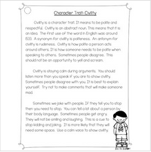 Load image into Gallery viewer, Character Traits: Civility Differentiated Reading Passages