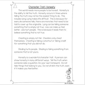 Character Traits: Honesty Differentiated Reading Passages & Questions