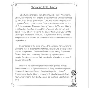 Character Traits: Liberty Differentiated Reading Passages