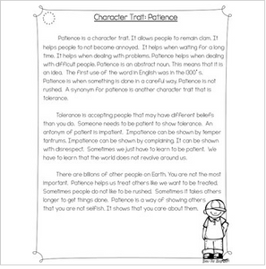 Character Traits: Patience Differentiated Reading Passages