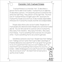 Load image into Gallery viewer, Character Traits: Trustworthiness Differentiated Reading Passages