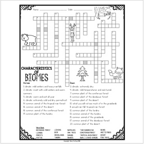 Characteristics of Biomes Comprehension Crossword
