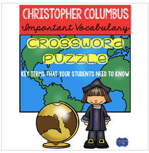 Christopher Columbus Crossword Vocabulary for Age of Exploration FREEBIE
