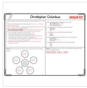 Christopher Columbus Diagram & Comprehension Questions