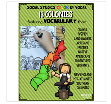 Load image into Gallery viewer, Colonial America Color By Vocabulary Activities