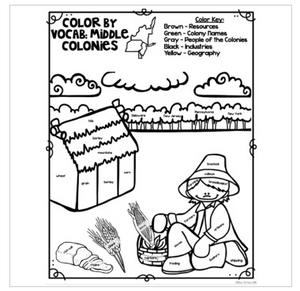 Colonial America Color By Vocabulary Activities