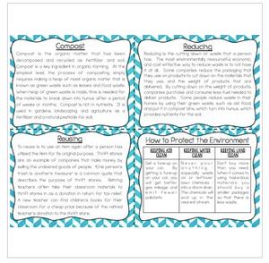 Conservation and Recycling Task Cards for Fluency and Comprehension