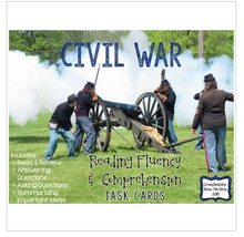 Load image into Gallery viewer, Civil War Reading Comprehension & Fluency Task Cards