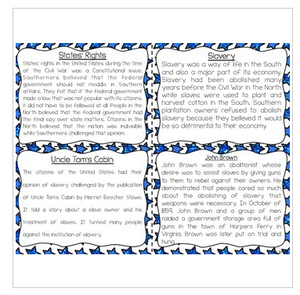 Civil War Reading Comprehension & Fluency Task Cards