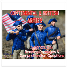 Load image into Gallery viewer, Continental and British Armies Differentiated Nonfiction Reading Passages
