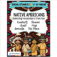 Load image into Gallery viewer, Native American Color By Vocabulary Activities