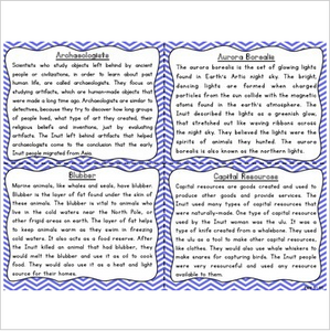 Inuit Reading Fluency and Comprehension Task Cards