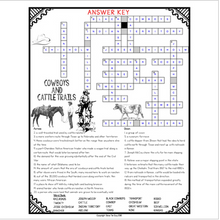 Load image into Gallery viewer, Cowboys and Cattle Trails Comprehension Crossword